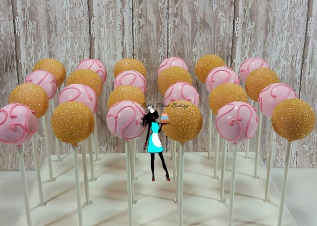 Vanilla cake pops!pink and gold