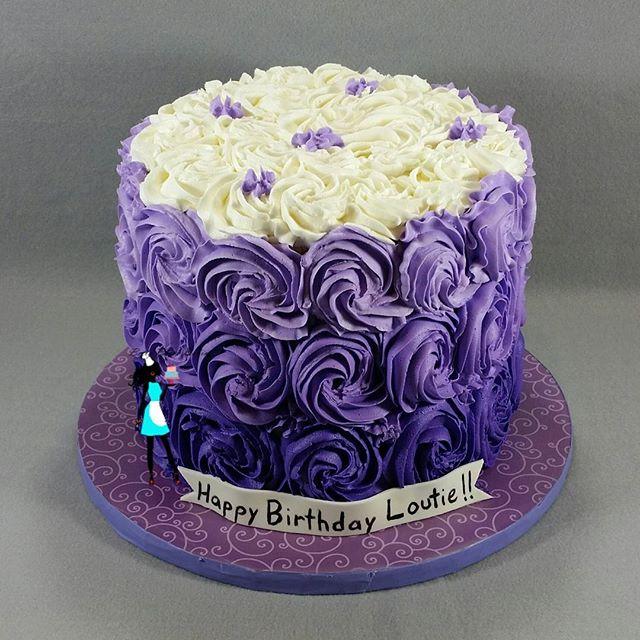 Purple rosette cake. Vanilla and chocolate cake layers