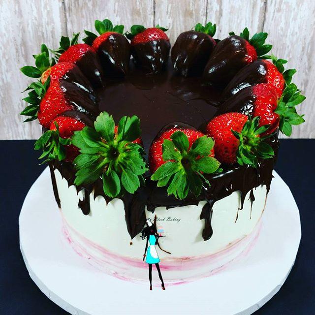 Vanilla rum cake with ganache and chocolate dipped strawberries for my hubby's boss _ alot of rum sh