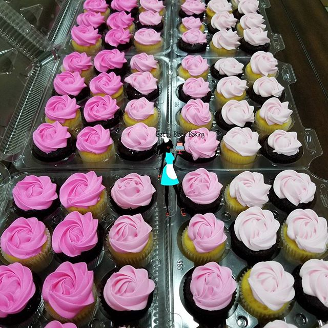 Pink Ombre! 8 Dozen Mini Cupcakes delivered today for a Baby sip and see. Vanilla and chocolate cupc