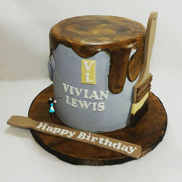 Bucket of varnish cake. Pina colada cake