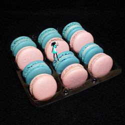 Baby blue and baby pink Macarons! Vanilla bean filling