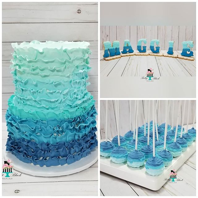 Blue ombre ruffle themed cake, cakepos,