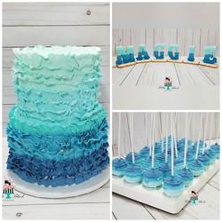 Blue ombre ruffle themed cake, cakepos,