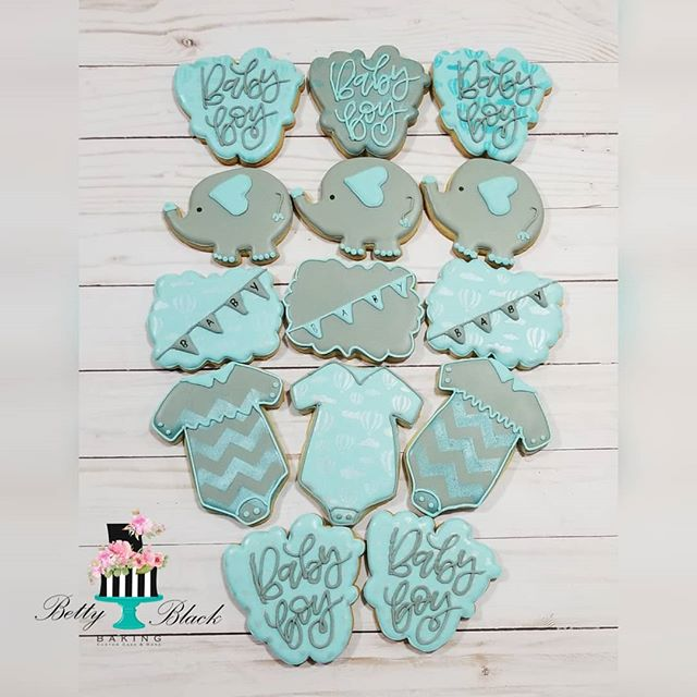 Elephant themed baby shower cookies