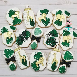 Jungle theme baby shower cookies._._._