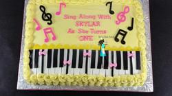 1/2 sheet Music Theme Birthday Cake