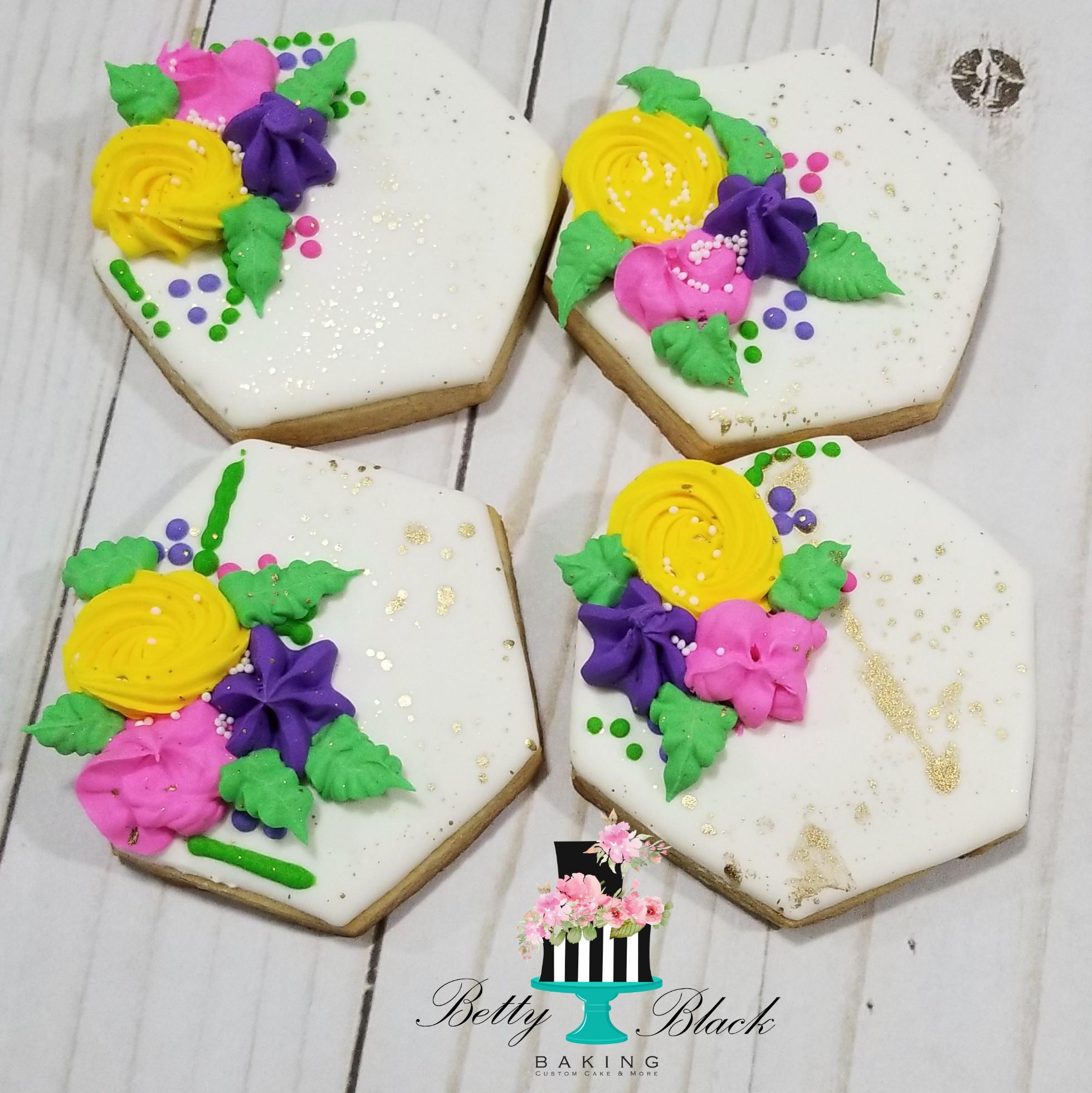 Hexagon floral cookies