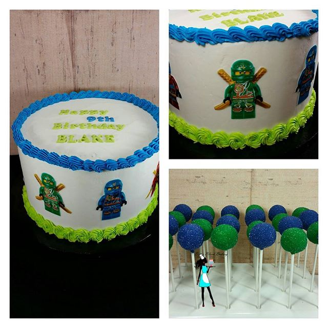Lego ninjago cake. Vanilla cake and cake pops