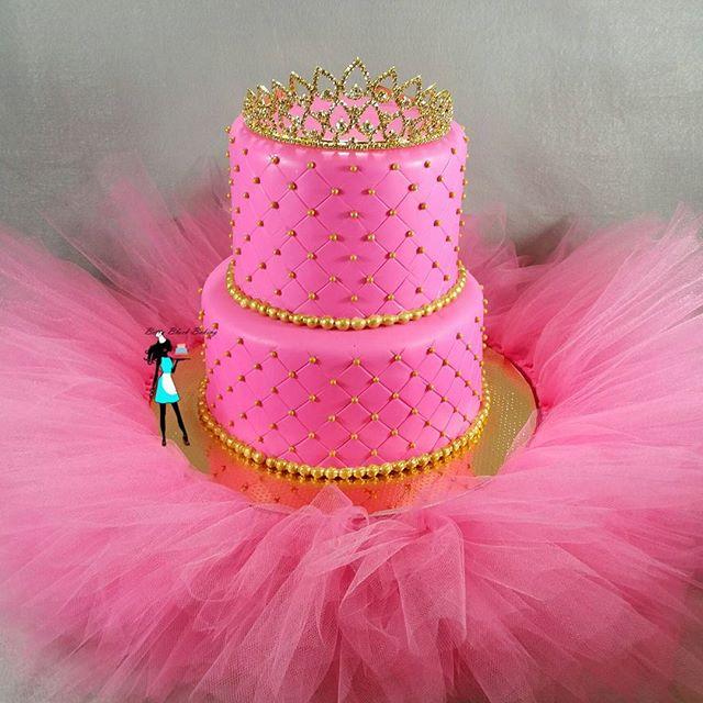 Pink and gold Princess tutu cake.