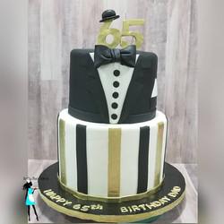 65th Tuxedo Birthday Cake