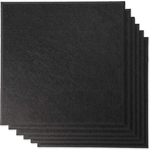 "12"" x 12"" RHINO Acoustic Panels Matte Black Color (6 Pcs)"
