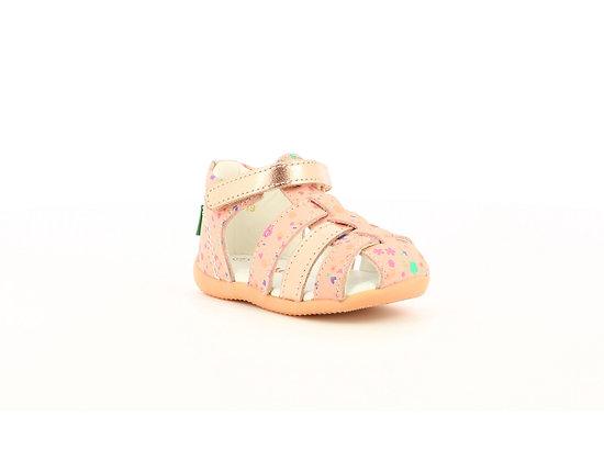Sandales cuir rose métalisé blossom