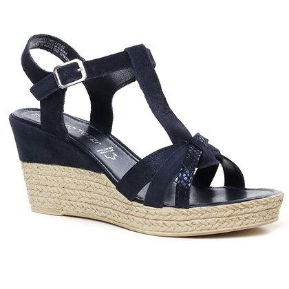 Sandale compensée navy comb