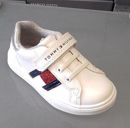 sneakers blanc/rouge métalic