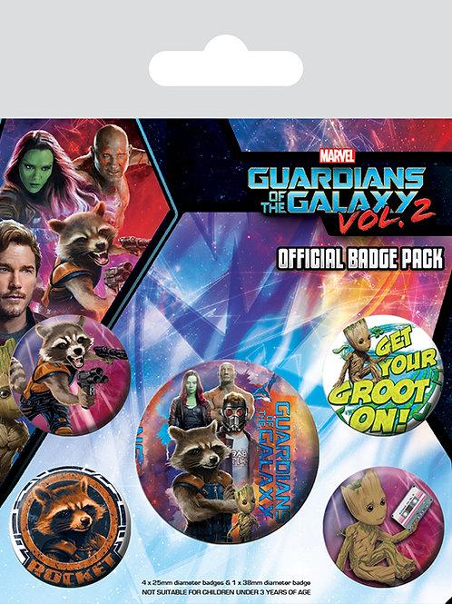Набор лицензионных значков Guardians of the Galaxy Vol. 2 (Rocket & Groot)