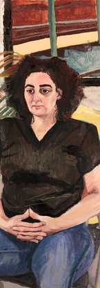 Anna H. and train tracks, oil on gessoed paper, 30 x 22 1/4 inches, 2014