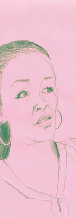Pink and green Verna, colored pencil, 11 x 8.5 inches, 2017