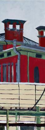 Red School, Bushwick, studio view, oil on canvas, 36 x 24 inches, 2018