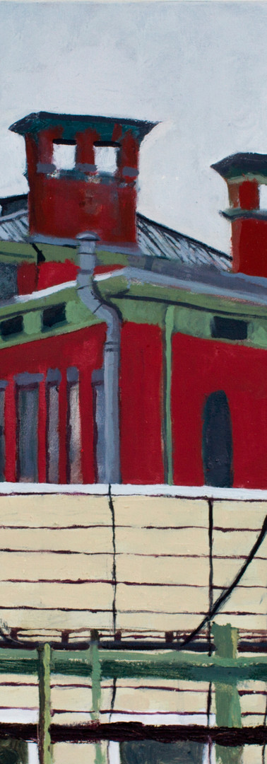 Red School, Bushwick, studio view, oil on canvas, 36 x 24 inches, 2018
