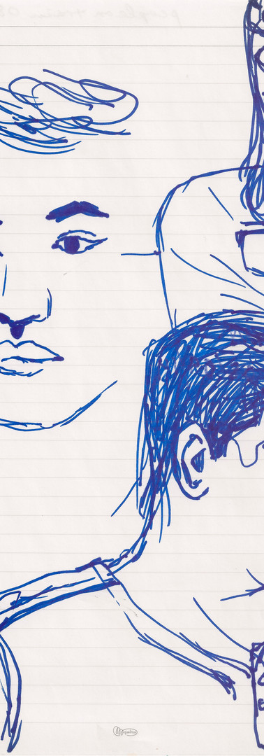 Faces, marker on paper, 11 x 8.5 inches, 2014