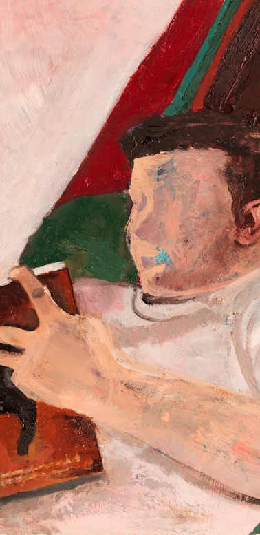 Vic reading Far From the Tree, oil on gessoed paper, 22 ¼ x 29 7⁄8 inches, 2014