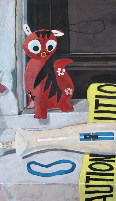 Red Kitty, oil on gessoed paper, 19.625 x 24.5 inches, 2012