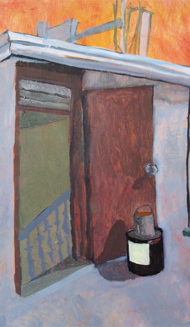 Stair sticks, oil on gessoed paper, 30 x 22.25 inches, 2012