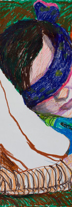 Vic blindfolded [multicolored], gel crayons on paper, 19.75 x 17.5 inches, 2018