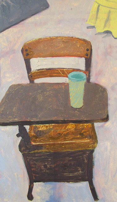 Green cup on child's desk, oil on gessoed paper, 22.25 x 15 inches, 2012