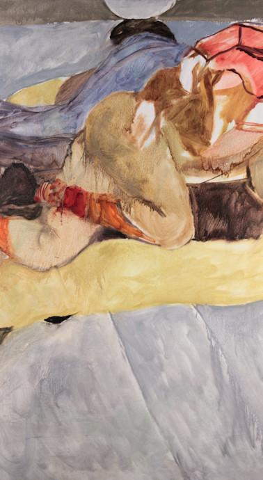 Alex and Amanda asleep, oil on canvas, 2013, 44 x 66 inches
