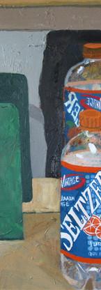 Mandarin orange Vintage seltzer, oil on canvas, 19.75 x 15.75 inches, 2012