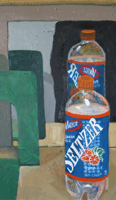 Mandarin orange Vintage seltzer, oil on canvas, 19.75 x 15.75 inches, 2012