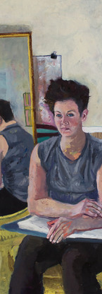 Liz Glazer and the mirror, oil on canvas, 36 x 24 inches, 2016