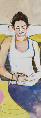 Former ballerina on yellow chair, gouache on watercolor paper, 23.5 inches x 18 inches, 2016