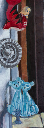Toys n train tracks, oil on gessoed paper, 22.25 x 14 inches, 2018