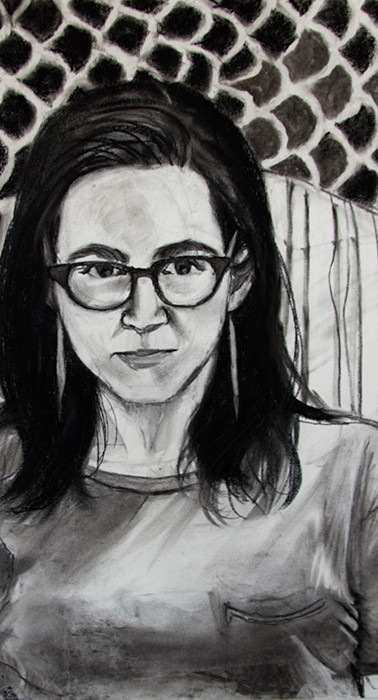Claire, charcoal on paper, 24 x 18 inches, 2016