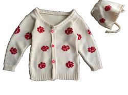 Baby girl 1 yr rose cardigan sweater and cap