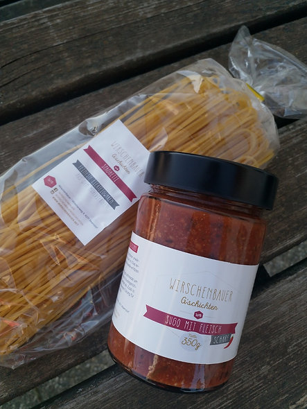 Spaghetti mit Sugo scharf 350g