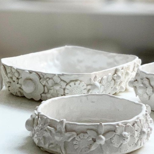 Full flower roasting dishes - oval, rect, round
