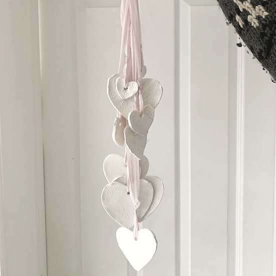 Heart cascade wind chime / hanging decoration