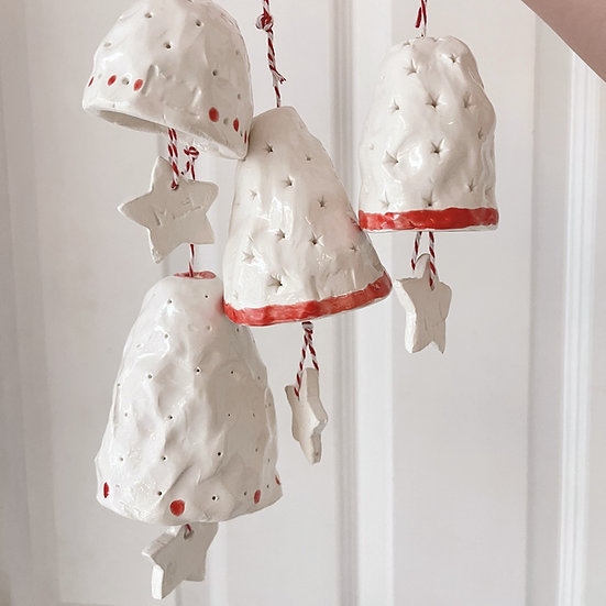 Bell and star hanging decoration - red