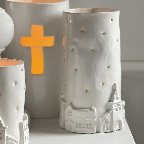 Starry village pillar candle holder