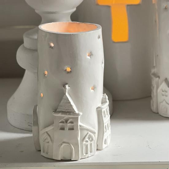 Starry village tea light holder