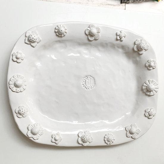 Scattered flower platter - med, large