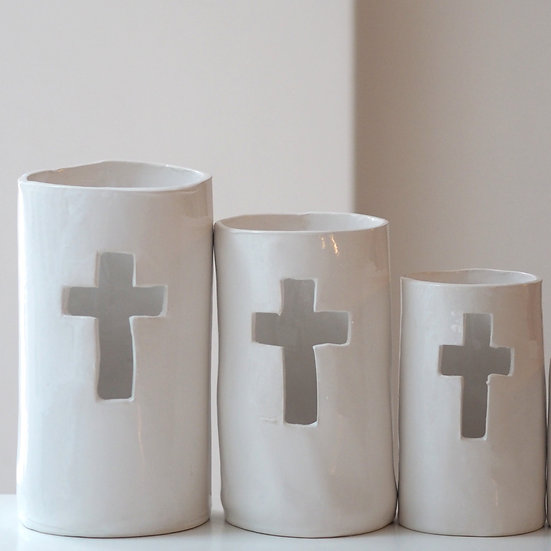 Pillar candle holder - cross