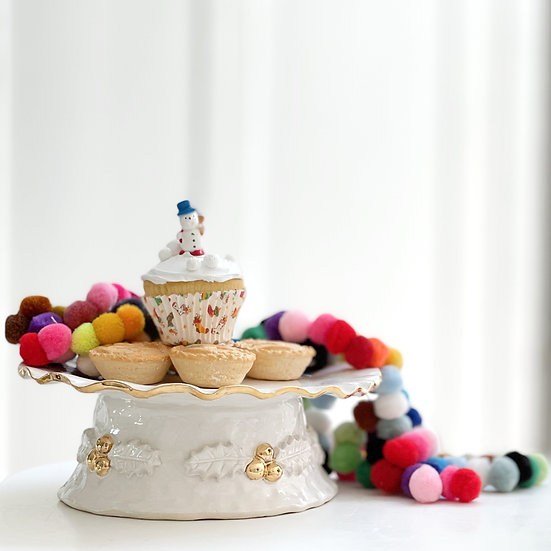 Christmas Holly Berry cake stand