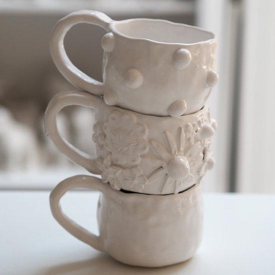 Chunky mugs - plain, bobble, flower