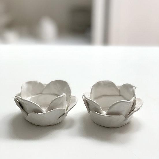 Flower petal tea light holders