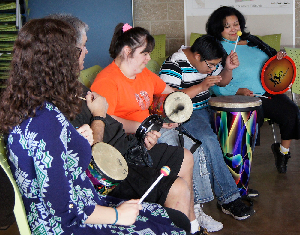 Music therapy drum circle disabilities adults and children